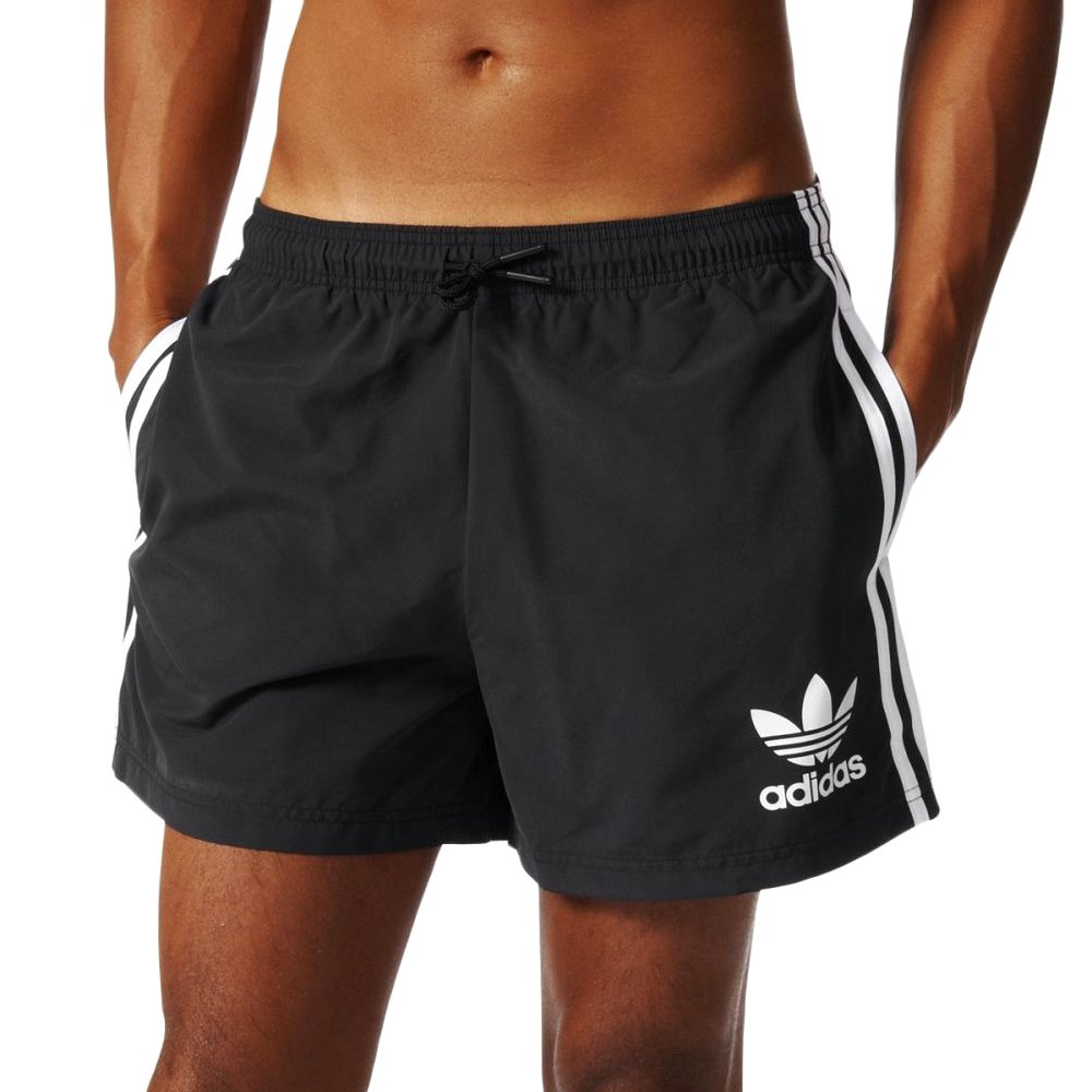 c02e07acf48de4 Details about Mens adidas Originals California Swim Shorts Black Beach Pool  Water Sports