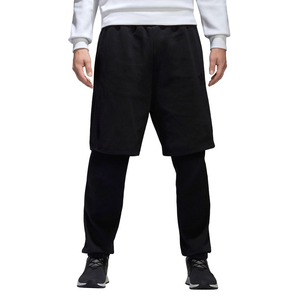 big sale 5a339 e205e Details about Mens adidas Originals Winter Sweat Pants Slim Fit Black  Trousers with Shorts