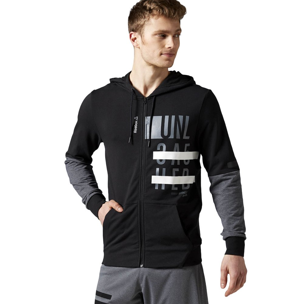 ff66103434 Details about Men's sports sweatshirt Reebok Workout Cotton Graphic Zip  Hoodie Black Training